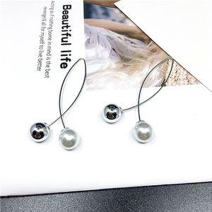 Silver Faux Pearl/Bead Crossover Ear Wire Earrings